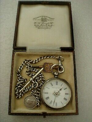 B Solid Sterling Silver Hallmarked 1885 Pocket Watch & Silver Albert Watch Chain