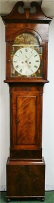 Sublime Antique 19thC 8 Day Flame Mahogany Scottish Grandfather Longcase Clock
