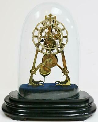 Antique English 8 Day A Frame Fusee Skeleton Table Clock Under Glass Dome