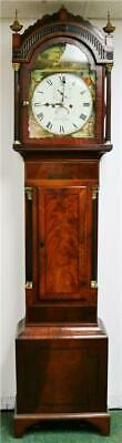Stunning Antique English 19thC 8 Day Flame Mahogany Grandfather Longcase Clock