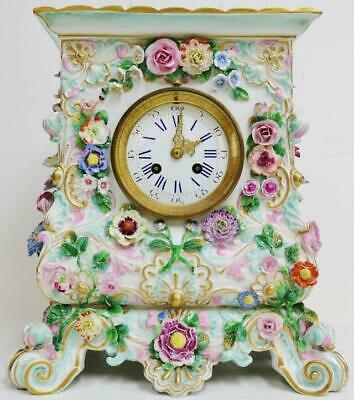 Rare Large Original Antique Hand Painted Meissen Porcelain 8 Day Mantle Clock