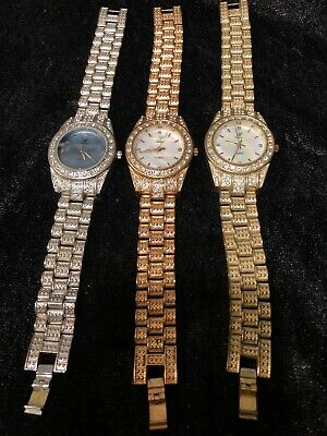 Trio Of Vintage quartz wrist watches. Mixed-metal With Crystals.May need battery