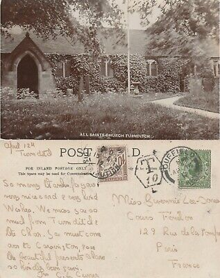 GB to France DUFFIELD GV Downey Head halfpenny Church rppc Postage Due 1912