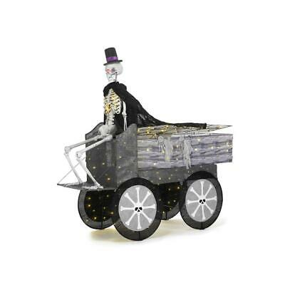 74 Inch Halloween Coffin Carriage Skeleton Life Size Lighted Weather Resistant