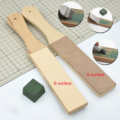 Wooden Dual Sided Leather Blade Strop Tool Razor Sharpener Polishing Compound