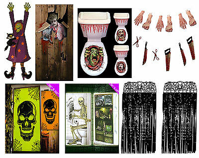 Halloween Decorations Party Scary Door Curtain Toilet Covers Horror House Props