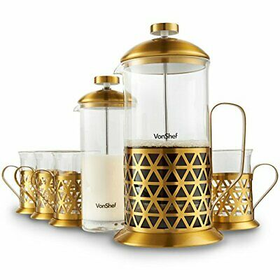 VonShef French Press Coffee Cafetiere Set with Milk Frother and 4 Serving Cups,