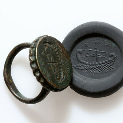 Scarce-Roman Military Bronze Seal Ring Depicting Military Ship Ca 100-200 Ad