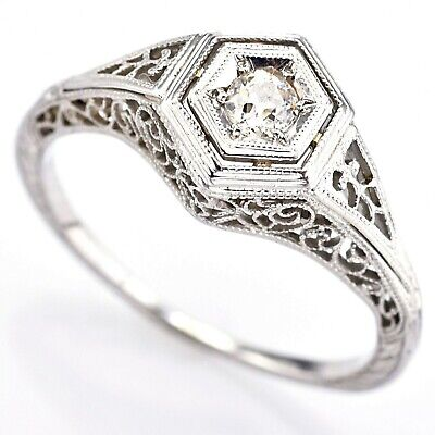 Antique 14K White Gold Old Euro Cut Diamond Art Deco Filigree Band Ring Sz 5.75