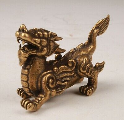 China Old Bronze Hand Casting Kirin Figurine Statue Auspicious Gift Collection