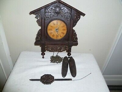 Antique,Black Forest, Cuckoo Clock, Wooden Frame Movement. Sold For Restoration.