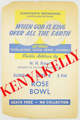 1963 Convention Handbill NH Knorr ROSE BOWL California Watchtower Jehovah