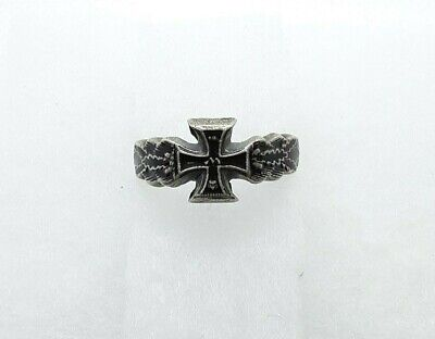 Antique WW2 German Military Ring Iron Cross and Oak Leaves Ring Silver 800