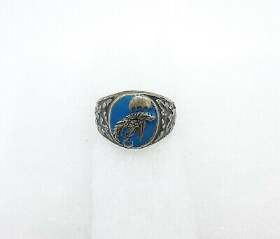 Rare Antique WW2 German Military Paratrooper Ring Silver 800 Airforce Parachute