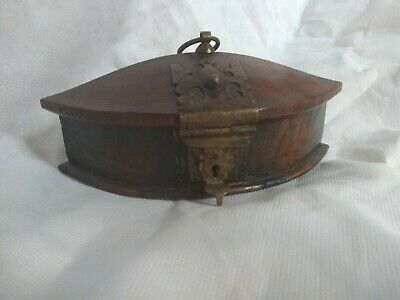 Charming Small 19th Century Colonial Wooden Spice Box Original Brass Fittings