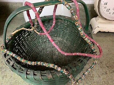Antique African Trade Bead Strands Necklace Lot Multi Colored & Rust Red Vintage