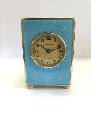 Antique Guilloche Enamelled Carriage Clock, Mantle Clock