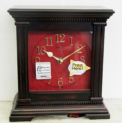 Seiko Mantle Clock Red Dial In Dark Wood With 12 Hi-Fi Melodies Qxw419Klh