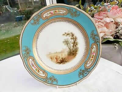 Hp Porcelain Plate. Scene  Cartouches Turquoise Gilt 19Thc Coalport ? French ?.