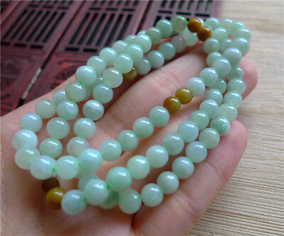 Lavender Green 100% Natural A JADE JADEITE Bead Beads Necklace 40874