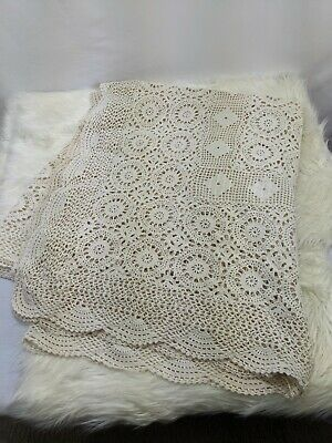 Rectangle Tablecloth Vintage Ivory Crochet Cotton Table Cloth
