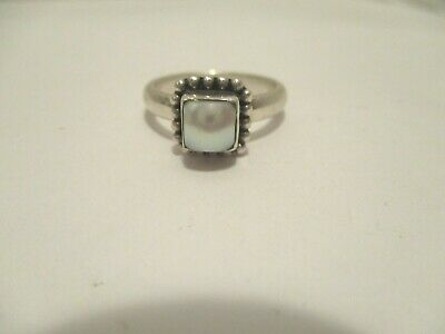Ring Silpada Mother Of Pearl Cabochon Beaded Sterling Silver Size 8.25 Signed