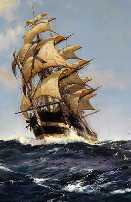 Oil painting The Crest of a Wave beautiful seascape with sail boat waves canvas