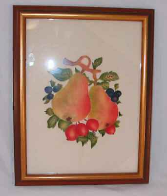 1982 Primitive Hand Painted Pennsylvania Dutch Style Theorem Fruits Signed PAD