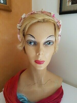 Vintage pink velvet headband fascinator little flowers flower girl bridesmaid
