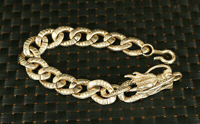 rare Asian old tibet silver hand carved dragon head fine bracelet noble gift