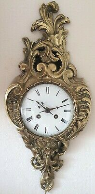 Antique Cartel Clock French Paris Gilt Bronze Striking Cartel Wall Clock
