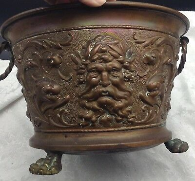 Antique Basin Planter Handled Pot North Face Claw Feet Victorian Copper