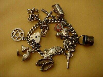 A Fine Antique Solid Sterling Silver English Hallmarked Charm Bracelet