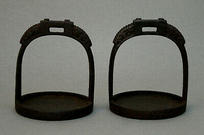 Pair Antique Chinese Cast Iron Stirrups Horse Qing Dynasty