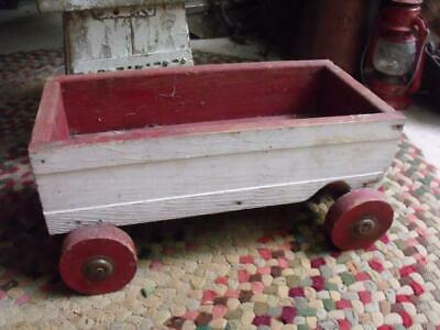 Old Small Primitive Vintage Wood Wagon Child Sized Hand Made Great Planter !