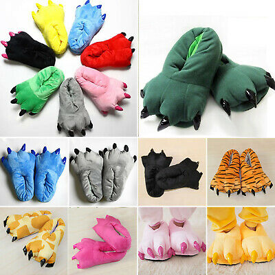 Adult Kids Animal Monster Feet Slippers Claw Dinosaur Funny Paw Plush Warm Shoes