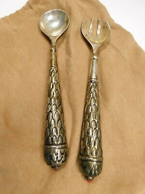"""Vintage/Antique Ornate Silver Plated Large 13"""" Serving Spoon And Fork w / Jewels"""