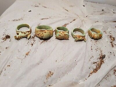 Rare Antique Ancient Egyptian 5 Rings Amulets Luck Scarab God Bastet 1850-1780BC