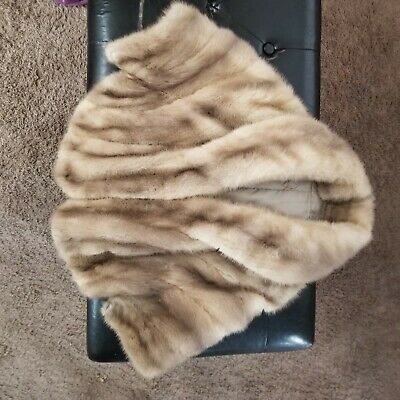 VINTAGE Mink  Fur Stole Wrap Shawl Lined  With Pockets