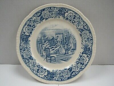 Rare Blue Historical America Plate Betsy Ross Showing First American Flag 1777