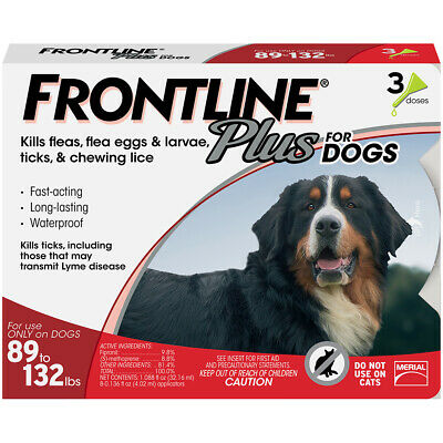 Frontline Plus Flea & Tick Treatment for Dogs 89-132lbs  - 6 Doses FREE SHIPPING