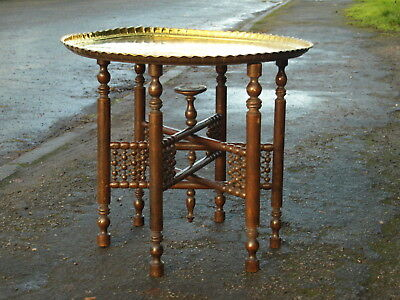 ANTIQUE BENARES BRASS TOPPED TABLE WITH TURNED DECORATION  ; South Lincolnshire