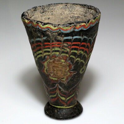 Very Rare Roman Era Phoenician Colored Glass Cup With Gold Decorations Ca 100-2