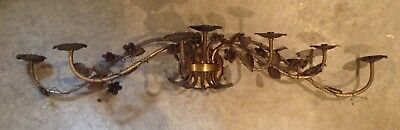 Vintage Antique Toleware Wall Hanging 7 Sconce Flowers Antique Brass Italian