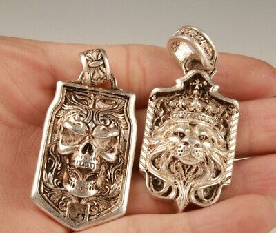 2 Unique China Tibetan Silver Hand-Carved Skull Lion Statue Gift Pendant