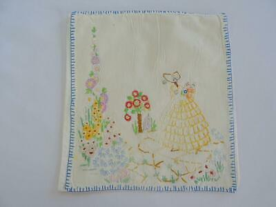 Vintage Handkerchief Case Hanky Embroidered Crinoline Lady Southern Belle 1930s
