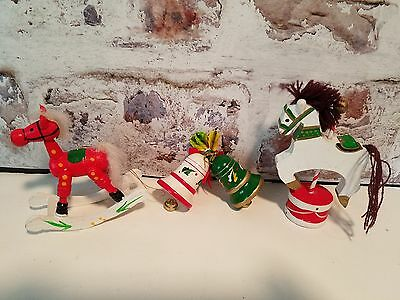 Vintage Wooden Carousel Rocking Horse Bells Christmas Ornaments Lot of 3