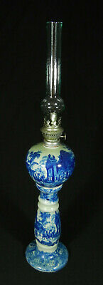 Antique/Vintage American Parlor Oil Porcelain/Stone Lamp with 1800s Scenery