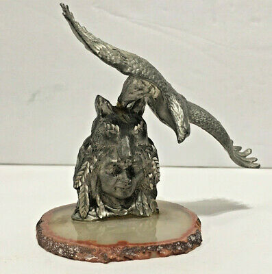 Native American Indian Pewter Figure Statue Warrior Eagle Wolf Spirit Art Geode