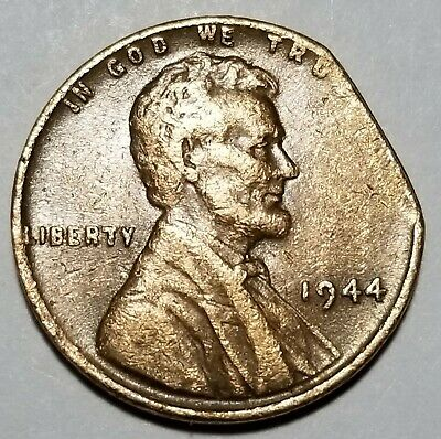 1944 - Large Straight Clip - Lincoln Wheat Cent Major Mint Error Lot #7836